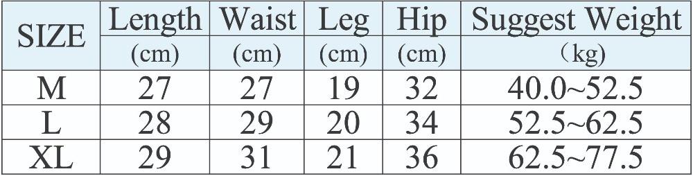 安全裤尺码表副本