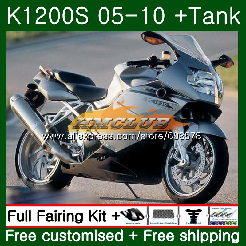 Pour BMW K 1200 S K 1200 S K1200S 05 06 07 08 09 10 38CL. 29 K1200 S K-1200S 2005 2006 2007 2008 2009 2010 En argent Carénage