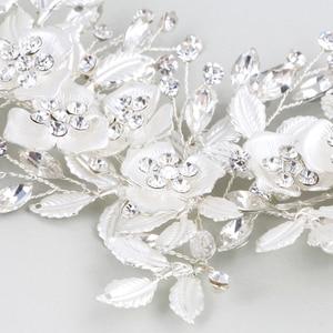 Image 4 - ファッション 2020 シルバー花ブライダルかぶとティアラウェディングヘアアクセサリーつる手作りヘッドバンドヘアアクセサリー花嫁のための