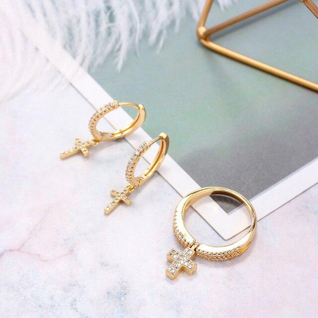 SIPENGJEL New Zircon Cross Pendant Hoop Earrings Punk Vintage Dangle Drop Earrings For Women Fashion Jewelry Gift 2021 5