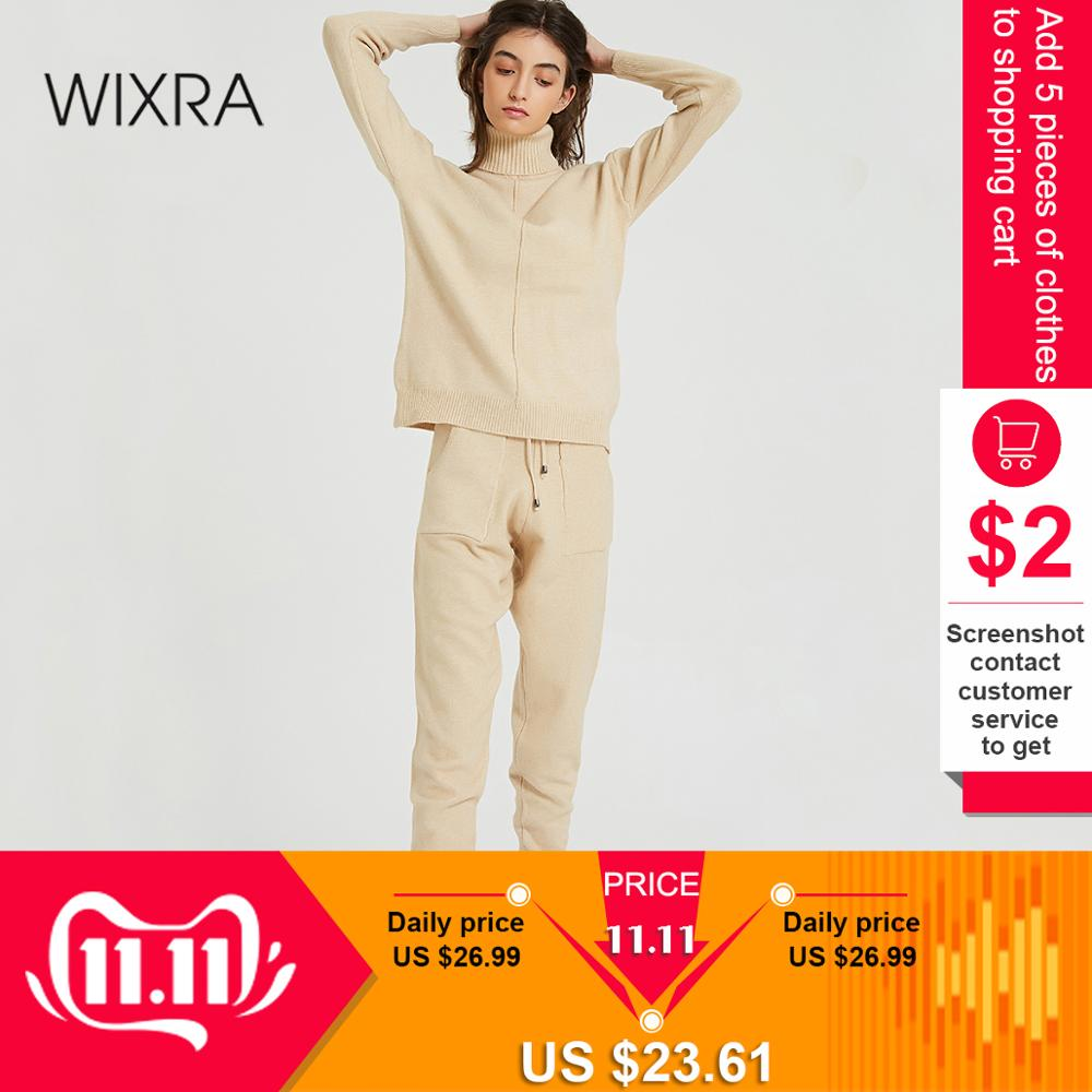 Wixra Women's Sweater Suits and Sets Turtleneck Long Sleeve Knitted Sweaters+Pockets Long Trousers 2PCS Sets Winter Costume