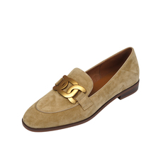 Women Shoes Genuine Leather Flats Loafers Round Toe Sheep Suede Metal Decor Slip-on Footwear Ladies Cozy Casual Shoes 2021 New