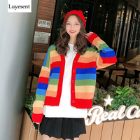 Rainbow Women Cardigans Sweater 2019 Lady Colorful Striped Buttons Long Sleeve Knit Top Fashion V Neck Warm Outdoor Cool Jumpers