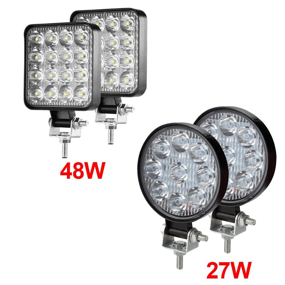 2 Pcs Mini Offroad LED Light Bar 27W 48W LED Work Light Bright Beam Off-Road Flood IP67 Waterproof Spot Light SUV Fog Lamp