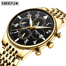 2019 New Watches Men Luxury Brand NIBOSI Waterproof Full Steel Quartz Watch Chronograph Sports Relogio Masculino