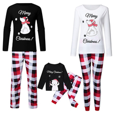 Suit Trousers Sleepwear Family Matching Three White Black Cotton of Print Checkered Snowman-Printing
