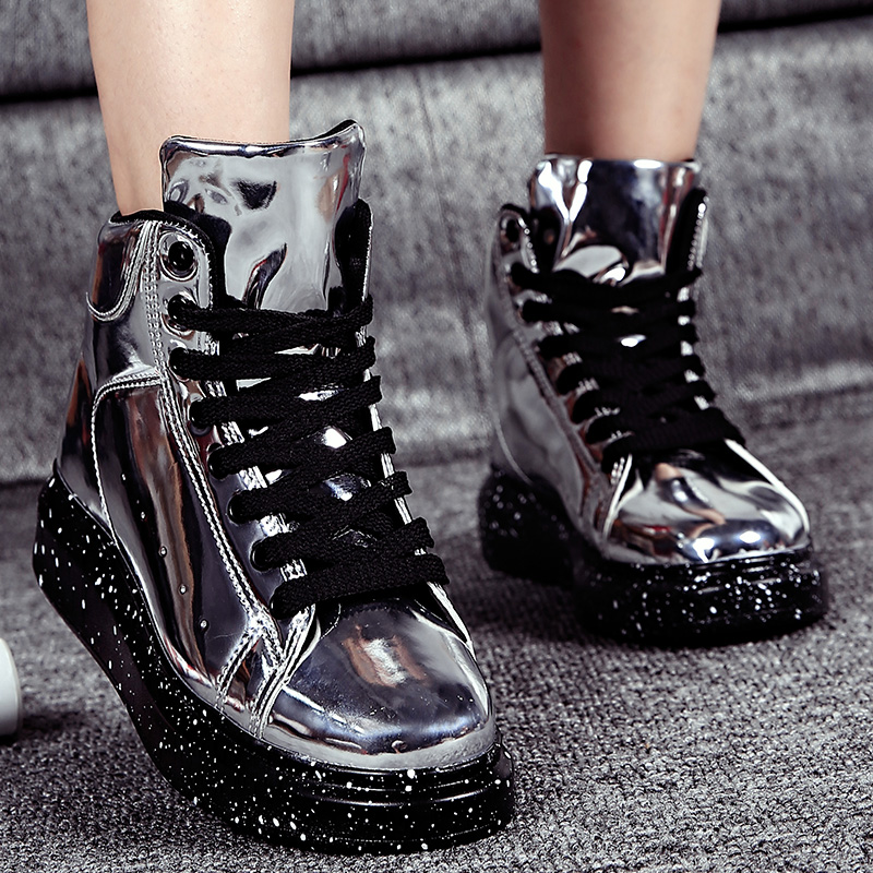 Livraison directe bottes de neige femmes 2019 hiver nouveau cuir peint fond épais haut conseil supérieur chaussures amoureux de mode miroir chaussures
