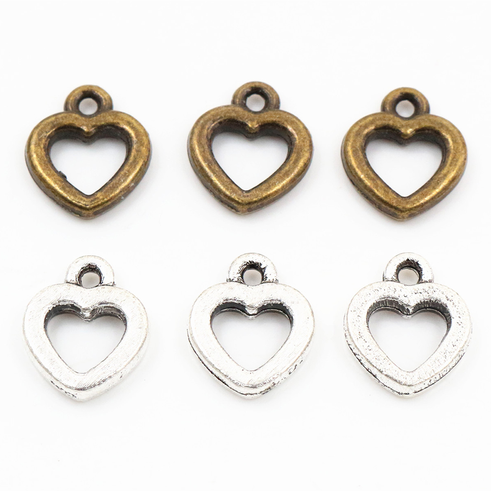 12x10mm 40pcs Antique Silver Plated And Bronze Plated Heart Handmade Charms Pendant:DIY For Bracelet Necklace