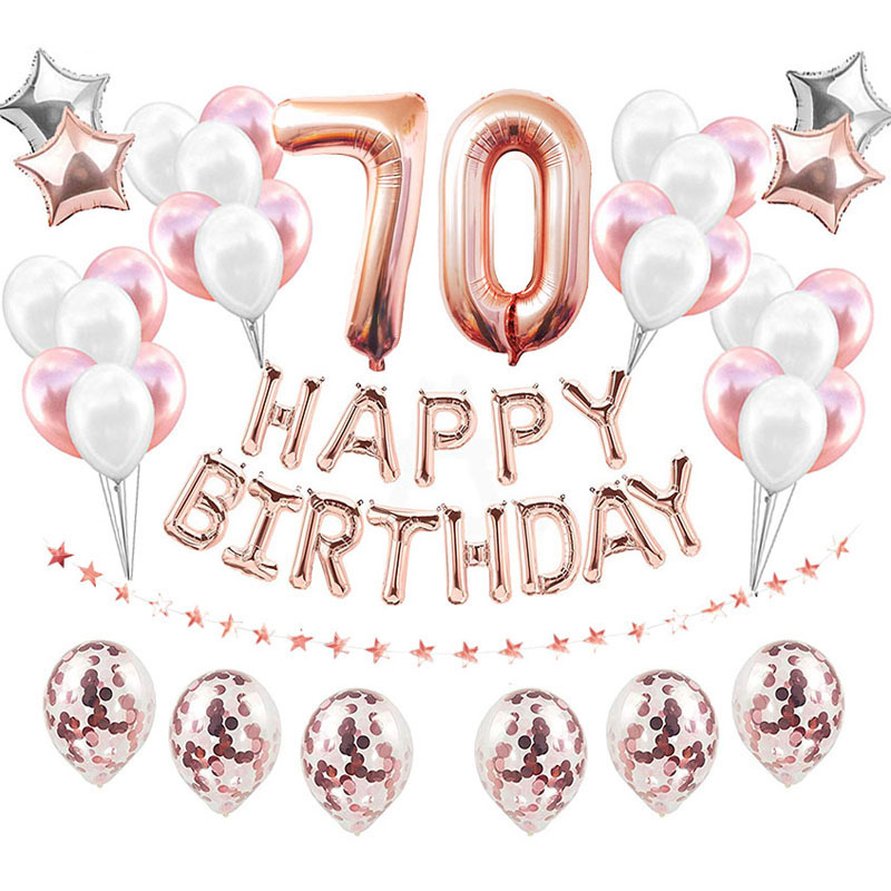 <font><b>70th</b></font> <font><b>Birthday</b></font> Rose Gold Happy <font><b>Birthday</b></font> Balloons <font><b>Birthday</b></font> Party Decorations Adult 70 <font><b>Birthday</b></font> Anniversary Decor Supplies image