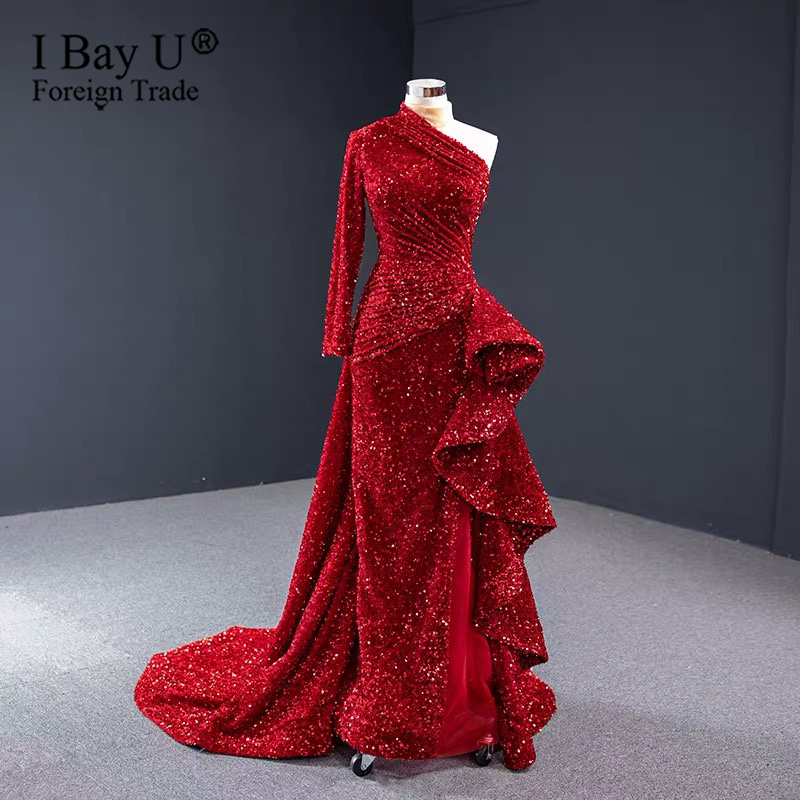 Red Sparkle Sequins Beading Formal Evening Gowns 2020 Luxury Sweetheart Dubai Sexy Mermaid Evening Dress