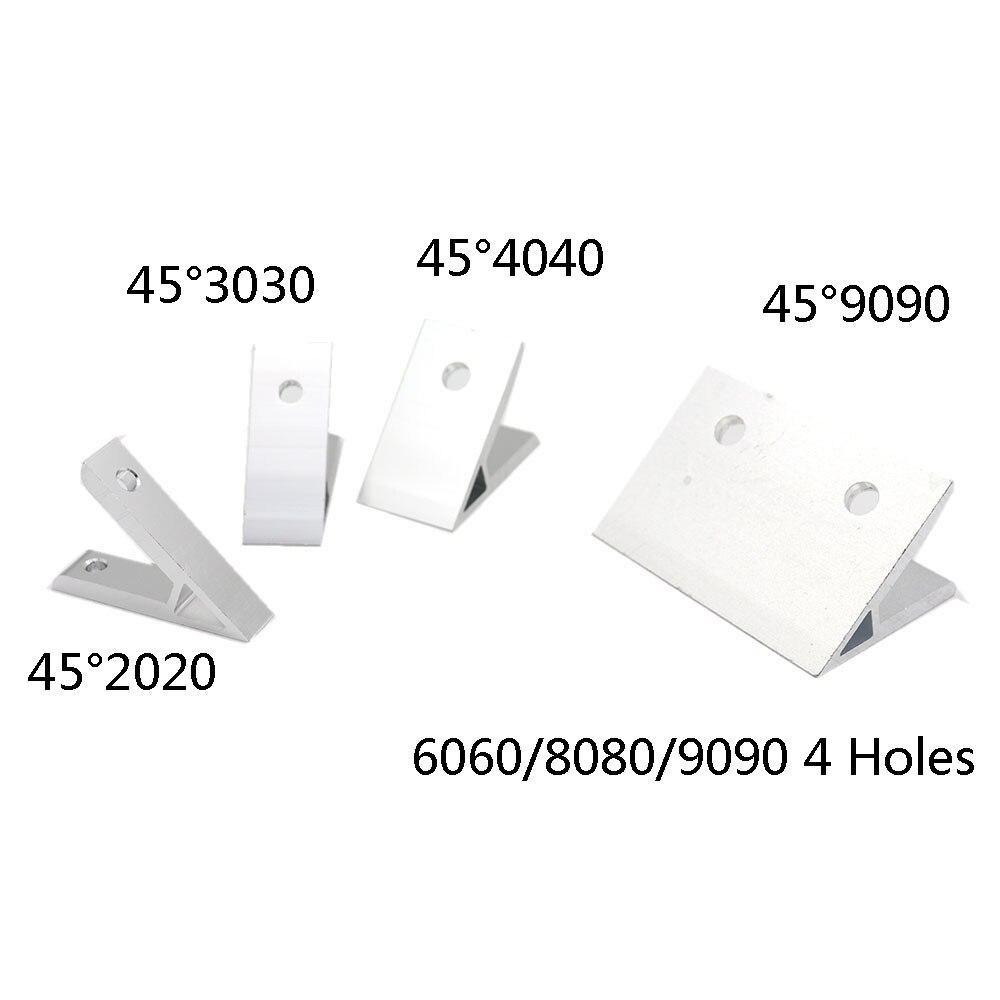 45 graus 2020/3030/4040/4545/6060/8080/9090 dentro ângulo de canto suporte conexão conjunta para alumínio perfil 3d impressora parte