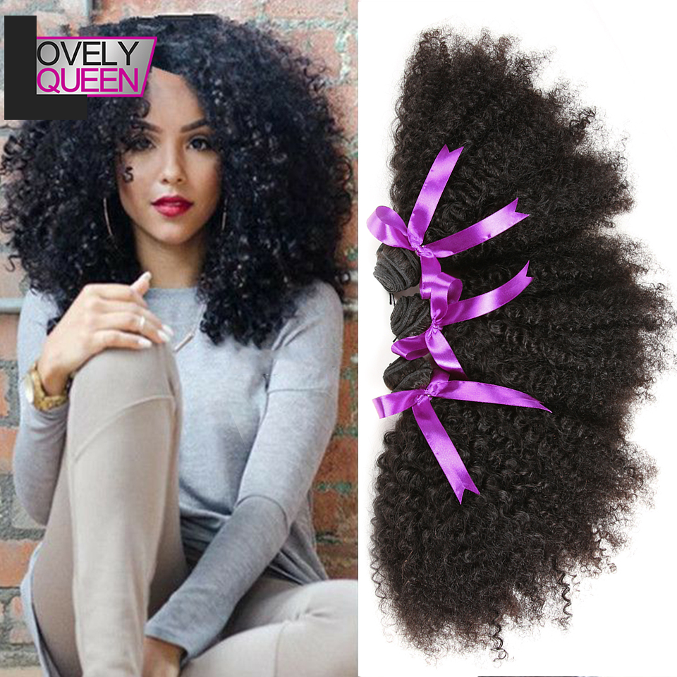 Lovely Queen Hair Bomb Kinky Curly  Hair Bundles Natural Color Human Hair Bundles 3 Bundles Weave For Black Women No Tangle