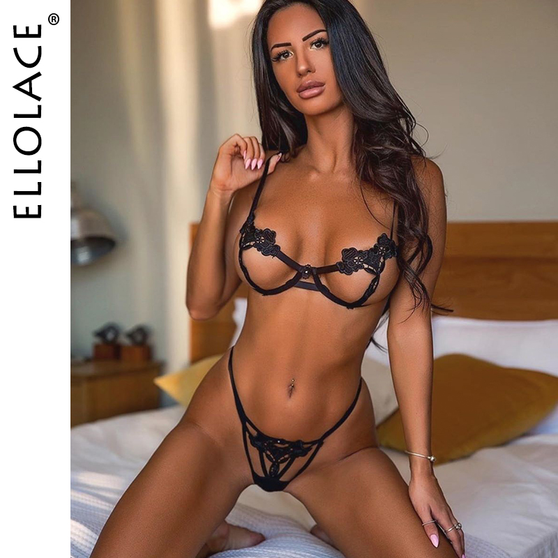 Ellolace Sexy Lingerie Lace Hollow Out  Women's Underwear Transparent Bra Set Black Lingerie Set Sexy Hot Erotic 2020 Sexy Bra