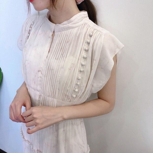 Kuzuwata Elegant Fresh High Waist Women Dress 2021 Spring New Pleated Drawstring Slim Waist Dresses Sexy Hollow Out Vestidos 1