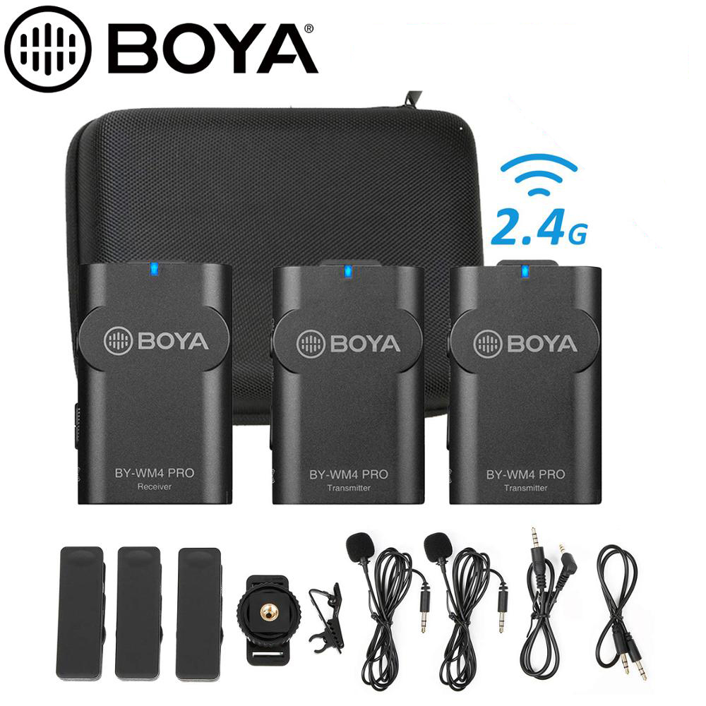 BOYA-micrófono inalámbrico BY-WM4 Pro K1/K2/K3/K4/K5 2,4G, Vlog para cámara DSLR, teléfono inteligente, para Canon, Nikon, iOS, iPhone 12