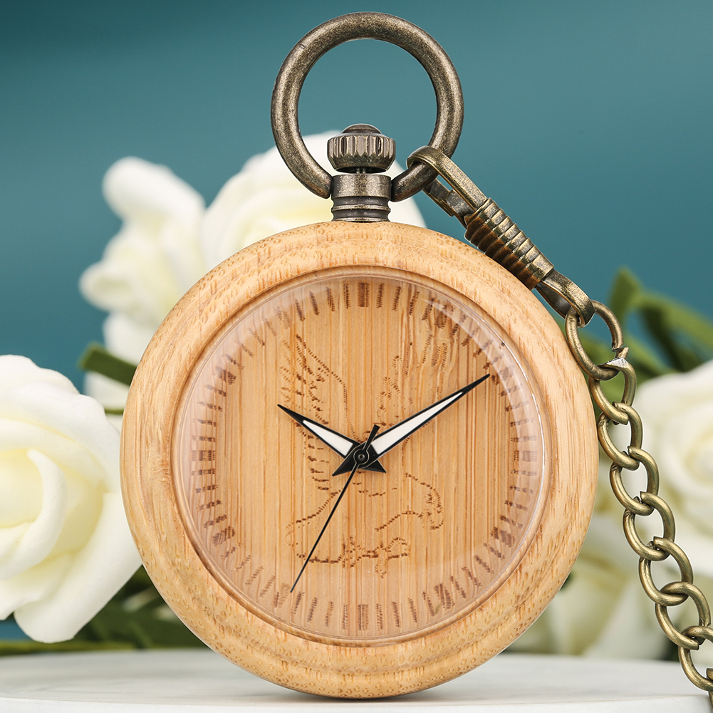 Natural Bamboo Pocket Watch For Men Eagle Pattern Dial Neckalce Clock Bronze Chain Wooden Pendant Watch Women Gift Zak Horloge