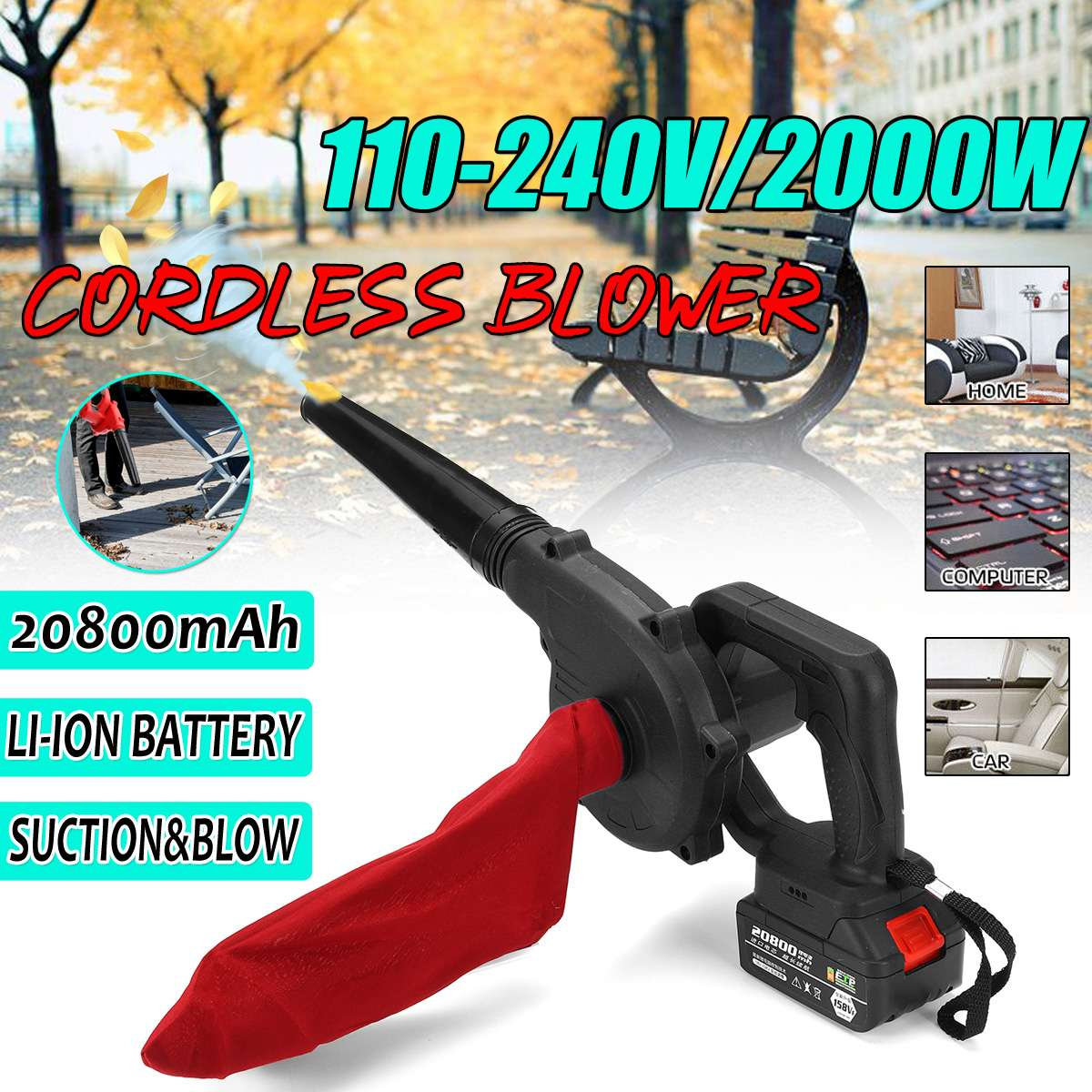 Cordless Electric Air Blower Handheld 110-240V Leaf Blower & Suction 20800mAh Lithium Battery Computer Dust Collector Cleaner