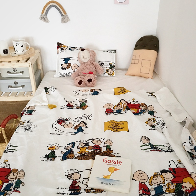 Foreign Trade Export INS Tassels Gauze Blanket Thin Snoopy Manufacturers Fresh Organic Cotton Infant Child Towel Hold Blanket