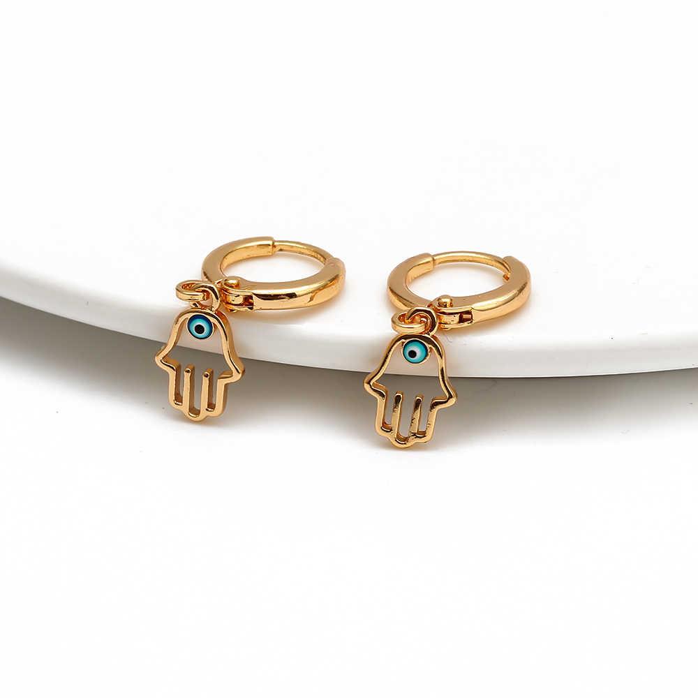 Mauvais œil suspendus Hamsa Drop boucles d'oreilles couleur or turc bleu yeux boucles d'oreilles mode bijoux pour femmes filles dames EY6514