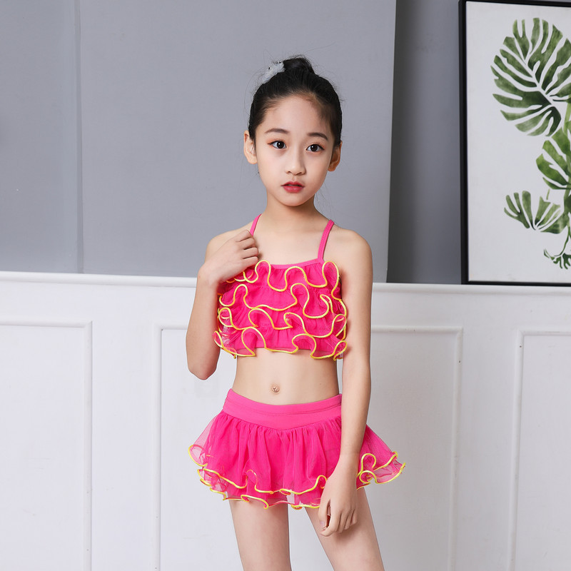 2019 New Style Girls Split Skirt Solid Color Cute Baby Girls Small GIRL'S Swimsuit Children Split Type Hot Springs Bathing Suit