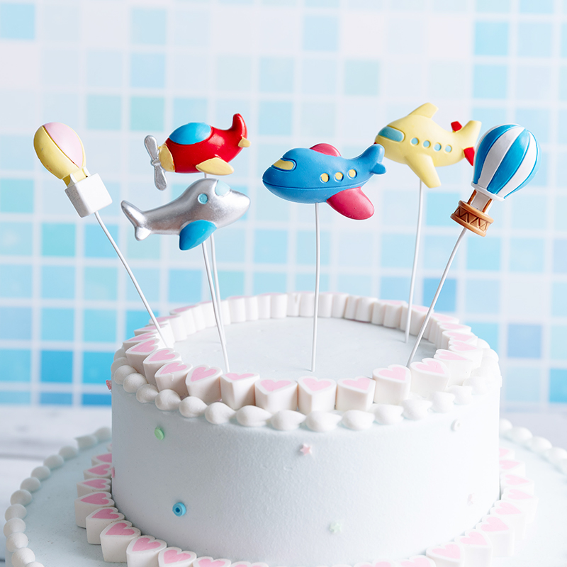 Airplane Cake Topper Birthday Wedding Cake Flags Air Balloon Cake Flag Birthday Party Baking Decoration Supplies image