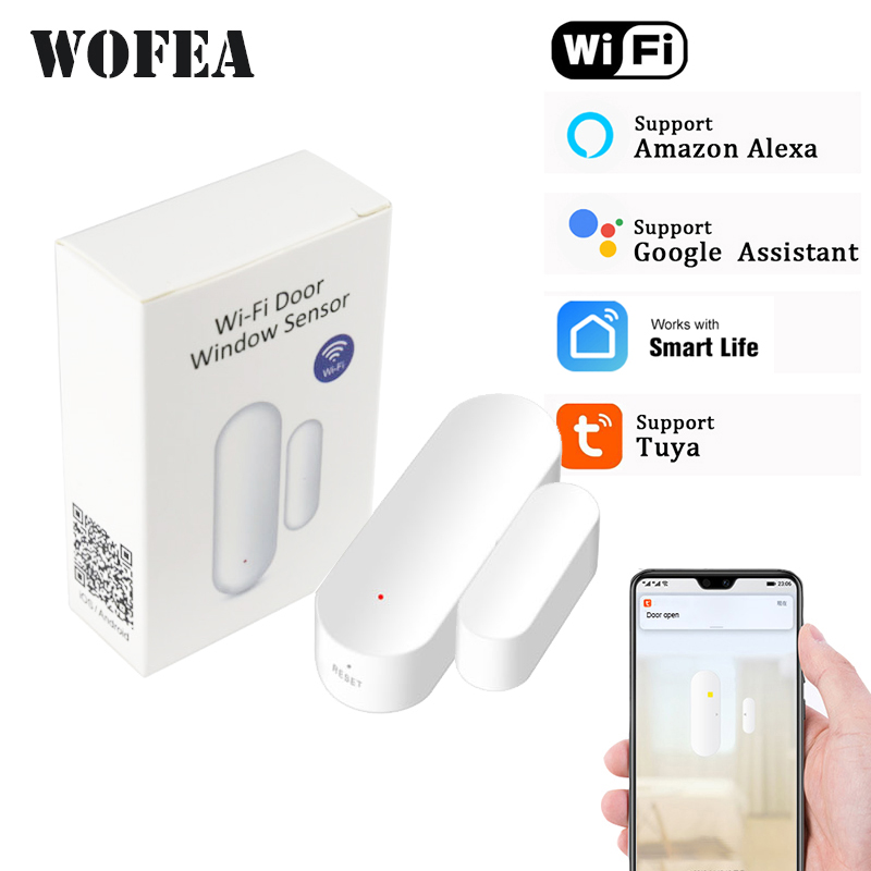Tuya smart wifi door sensor open   close detector wifi App Notification Battery Operated support alexa google home no need hub