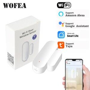 Tuya smart wifi door sensor open / close detector wifi App Notification Battery Operated support alexa google home no need hub