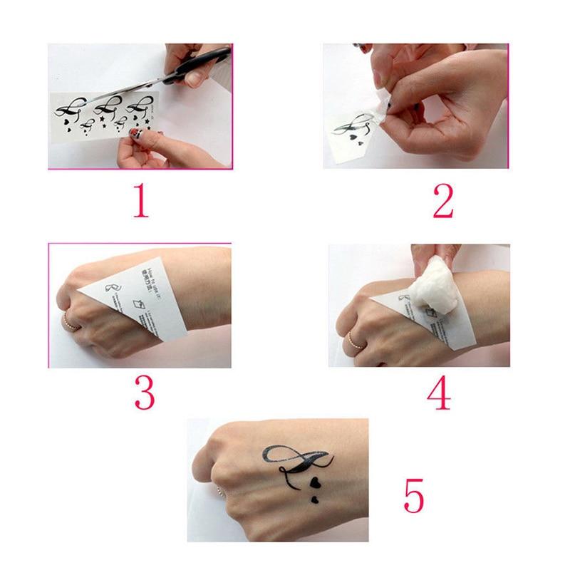 Black Temporary Tattoo Geometric Compass Arrow Waterproof Creative Fake Body Art Tattoo Sticker for Arms/Back/Sternum/Legs 4