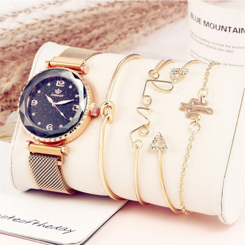 New Style Starry Watch Fashion Buckle Mesh Belt Quartz + Bracelet Set 5 Pieces Relogio & Casual