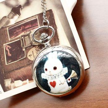 Fashion Luxury Style Men and Women Pocket Watch Necklace Quartz Stainless Steel Pocket Watch Silver Fashion Rabbit  Reloj Mujer