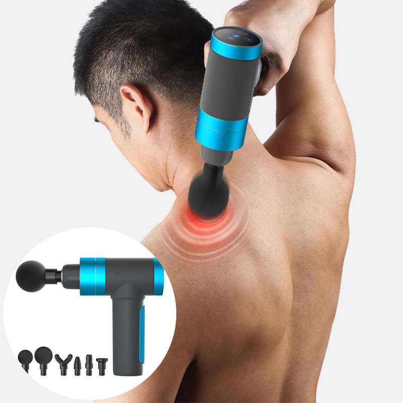 USB Massage Gun Touch Screen Button 5 Gears Muscle Massager Pain Sport Machine Relax Body Slimming Pain Relief LCD Display
