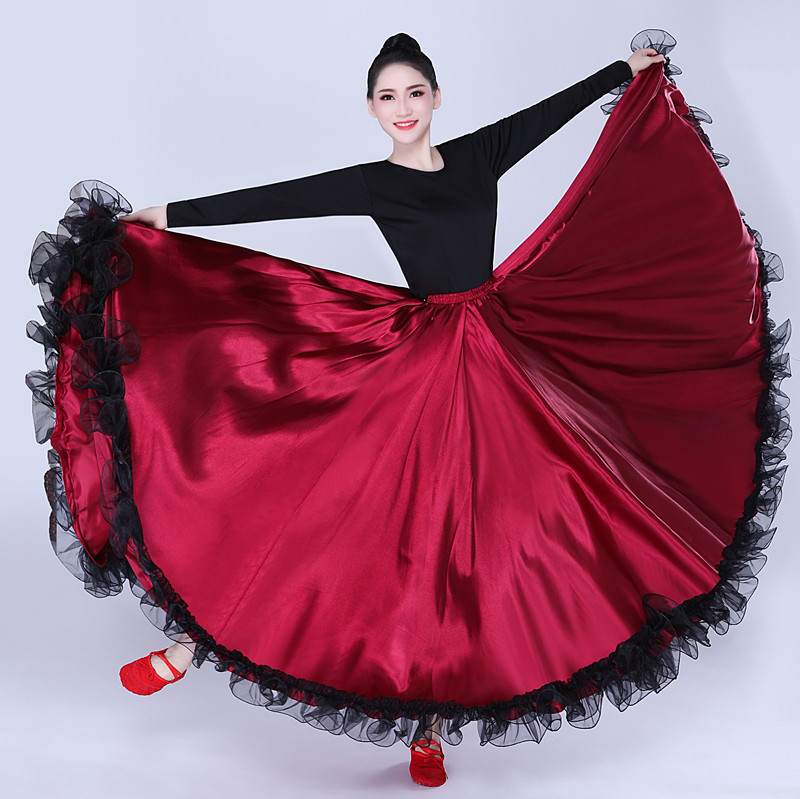Adult Women Lady Belly Dance Costumes Lace Spanish Bullfighting Dance Skirt Opening Dance Big Swing Skirt Performance Gypsy Wear