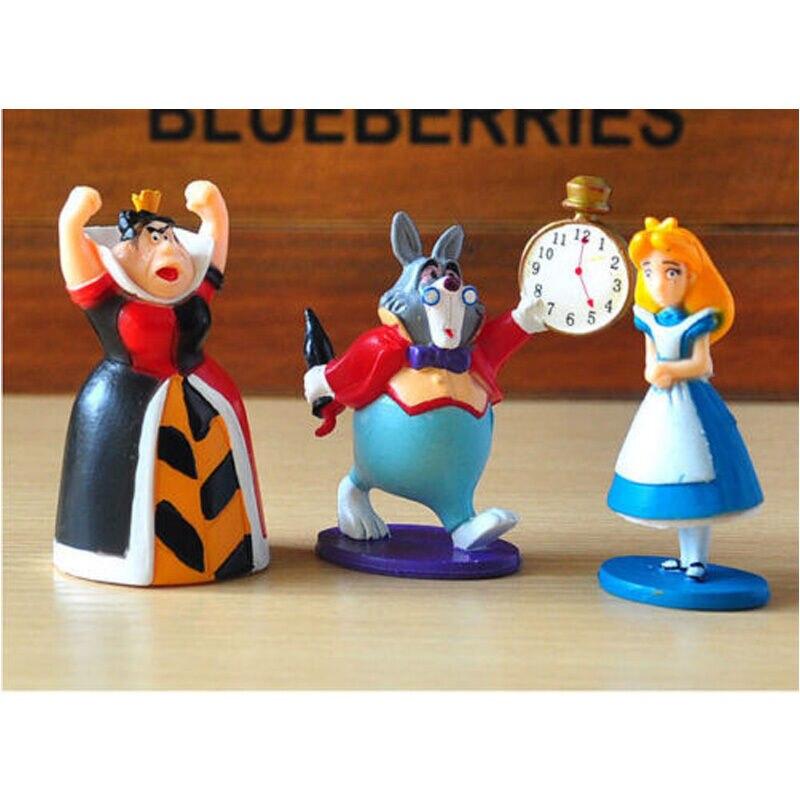 6 PCS Alice In Wonderland Hatter White Rabbit Action Figure Doll Cake Topper Toy
