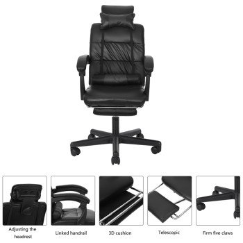 Gaming Chair With Footrest Adjustable Backrest Reclining Leather Office Chair Comfortable Swivel Ergonomic Chair Furniture 2