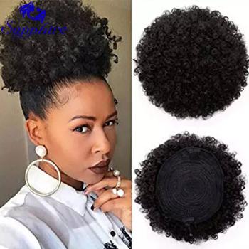 Sapphire Afro Puff sznurkiem kucyk ludzki włos krótki Afro Kinkys kręcone Afro Bun rozszerzenie treski przedłużanie włosów 2 klipy tanie i dobre opinie CN (pochodzenie) Włosy remy 60 g sztuka Na klipsy Realny kolor Brazylijskie włosy Afro Puffy Kinky Curly Human Hair Ponytail