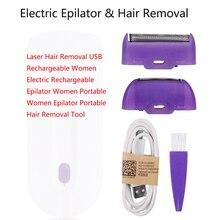 Laser Haar Entfernung USB Aufladbare Frauen Elektrische Wiederaufladbare Epilierer Frauen Tragbare Frauen Epilierer Tragbare Haar Entfernung Zu