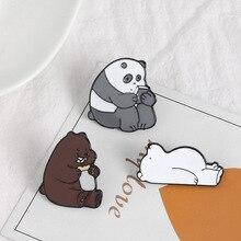 Animal Dos Desenhos Animados Pin Nua Grizzly Bears Bonito Panda Urso de Gelo denim Pinos Esmalte Broches