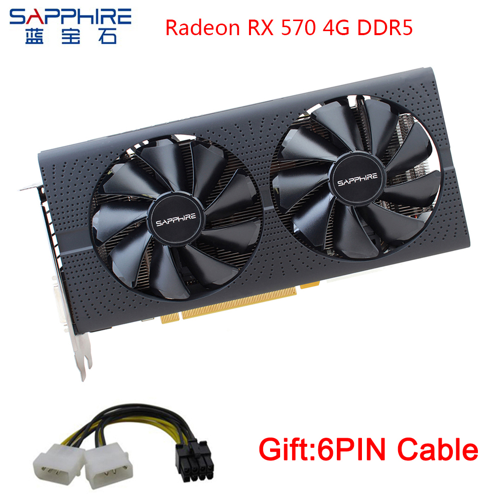 SAPPHIRE AMD Radeon Graphics Cards RX 570 4GB Gaming PC 256bit GDDR5 Video Card PCI Express 3.0 Desktop For Used Cards Desktop