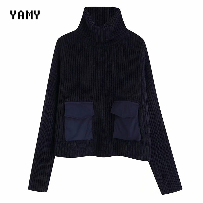 Chic Turtleneck Womens Oversized Sweaters Long Sleeved Winter Warm Pocket Patchwork Zoravicky Pullovers Vintage Za Jumpers 2019