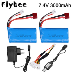 18650 7.4V 3000MAH lipo Battery 2s for Wltoys 12423 10428 12429 12401 12402 12402A RC Car Spare Parts charger 7.4V 20C batteries