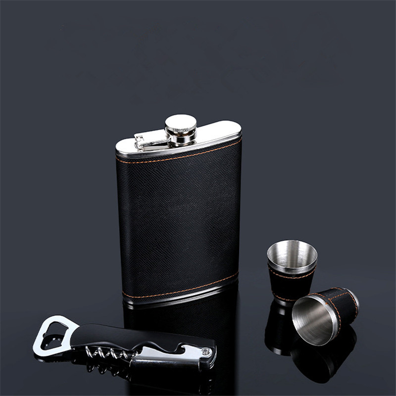 9oz Moscow Whisky Bottle Liquor Flagon 304 Stainless steel Alcohol Vodka Pu Leather wrapping Hip Flask With Opener Gift Set