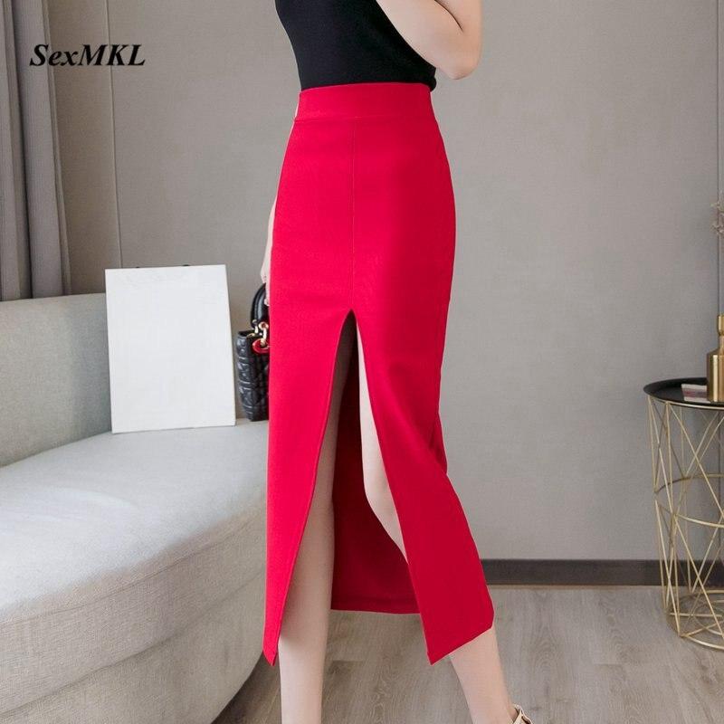 Plus Size Faldas Mujer Moda 2020 Fashion Long Skirts Womens High Waist Red Korean Skirt Office Women Sexy Black Skirt