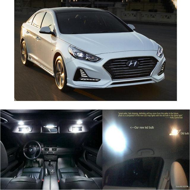 Led interior lights For Hyundai Sonata Plug-in Hybrid 2018  13pc Led Lights For Cars lighting kit automotive bulbs Canbus 1