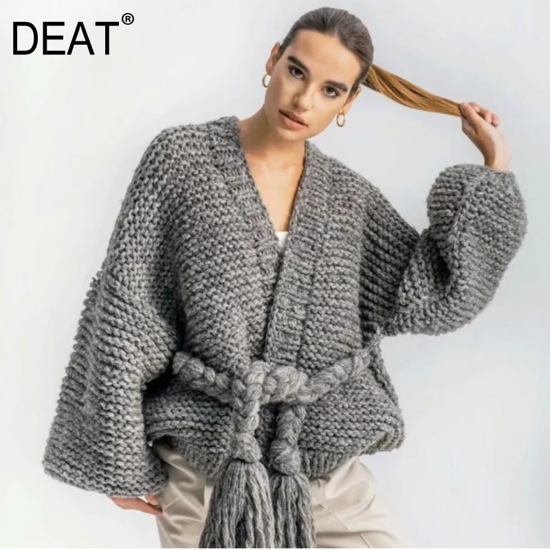DEAT 2020 New Autumn And Winter Fashion Women Clothes V-neck Lantern Sleeves Knits Beige And Gray Color Knits Cardigan WJ511011