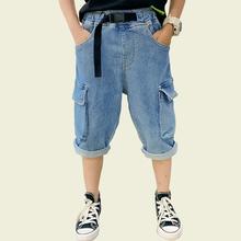 Letnie dżinsy dla chłopców szarfy dla dzieci krótkie dżinsy dla chłopców mankiety porwane jeansy dla dzieci ubrania w stylu Casual dla chłopców tanie tanio Honikuyi Na co dzień Pasuje prawda na wymiar weź swój normalny rozmiar 11N0181 Elastyczny pas Chłopcy Stałe REGULAR