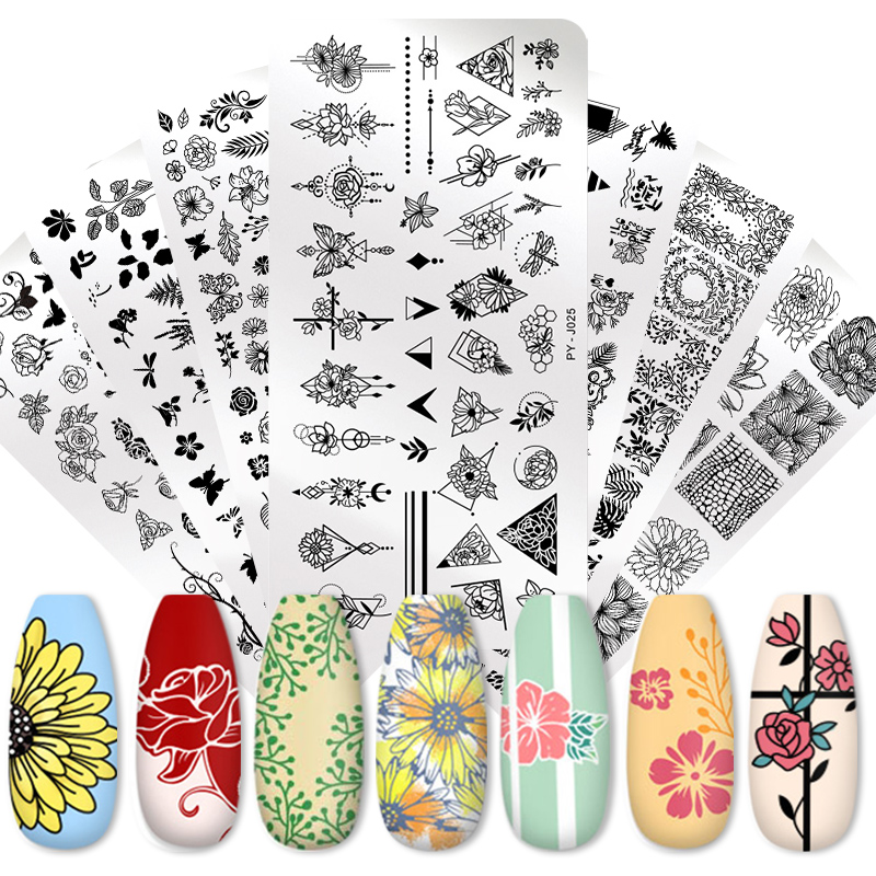 PICT YOU Nail Stamping Plates Flower Geometry Animals Nail Art Image Plate Stencils Stainless Steel Nail Design Stencil Tools
