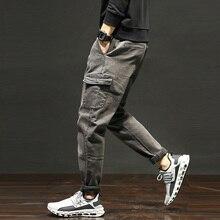Newly Autumn Winter Japanese Style Fashion Men Jeans Black Loose Fit Large Size 28-42 Big Pocket Denim Cargo Pants Korean Small Leg Casual Harem Trousers Streetwear Designer Gray Hip Hop Joggers