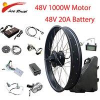 Electric Bike Conversion Kit 20''26''4.0 Fat Tire Bicycle 48V1000W Hub Motor 48V20AH Battery Bicicleta Eletrica Brushless Motor