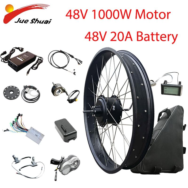 Elektrische Bike Conversion Kit 20''26'' 4,0 Fett Reifen Fahrrad 48V1000W Hub Motor 48V20AH Batterie Bicicleta Eletrica Bürstenlosen Motor
