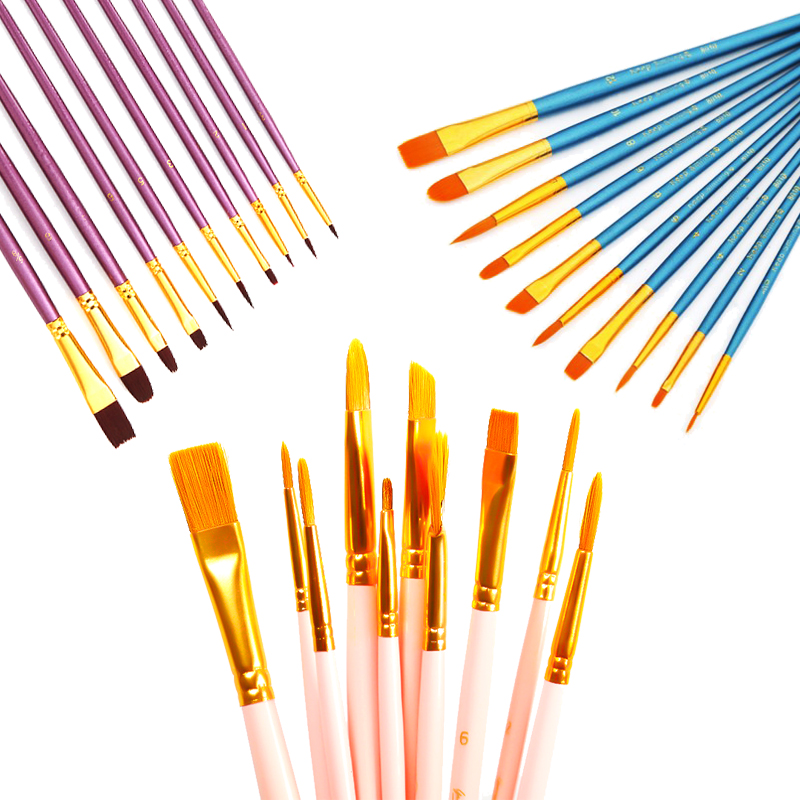10Pcs/bag Watercolor Gouache Paint Brushes Different Shape Round Pointed Tip Nylon Hair Painting Brush Set Art Supplies No Box